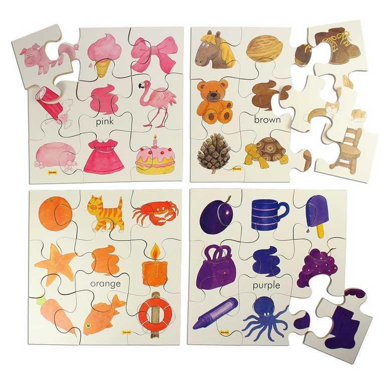 Bigjigs Toys Dřevěné didaktické puzzle barvy 4v1