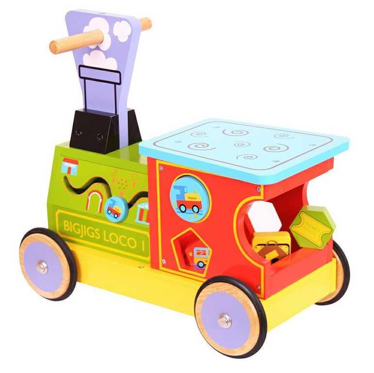 Bigjigs dřevěný motorický vozík Mašinka