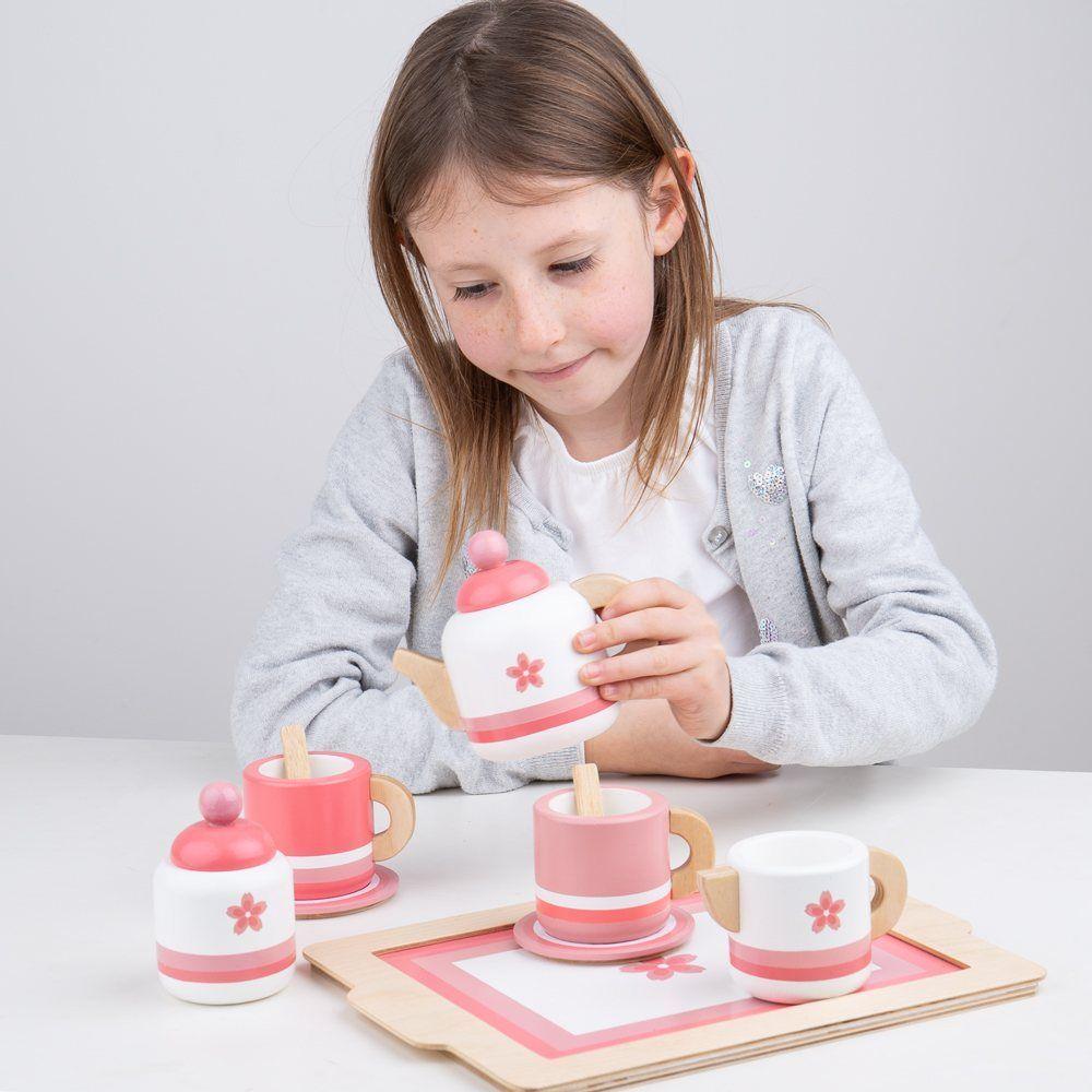 Bigjigs Toys Dřevěná čajová sada růžová