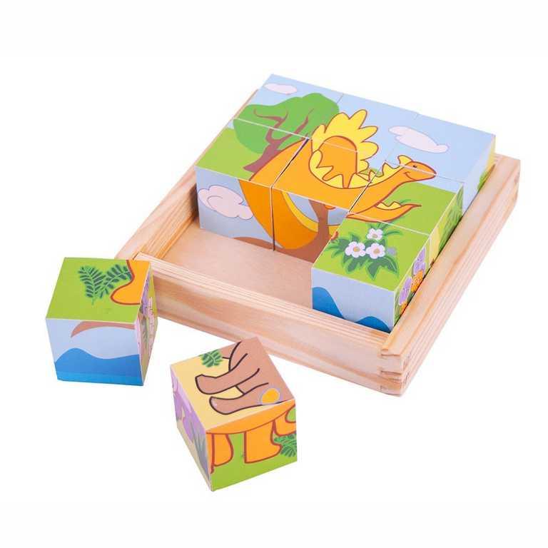 Bigjigs Toys Obrázkové kostky kubusy Dinosauři 9 kostek