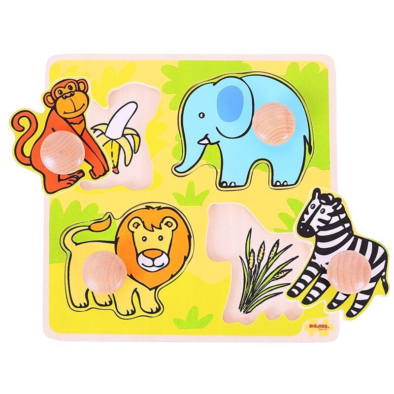 Bigjigs Toys Vkládací puzzle safari - poškozený obal