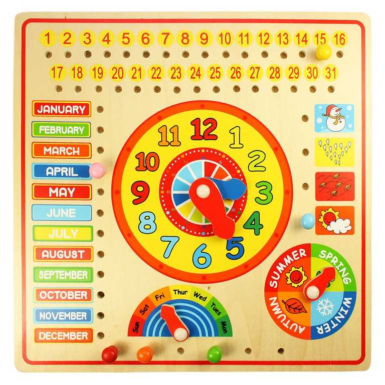 Bigjigs dřevěné hračky - Kalendář s hodinami
