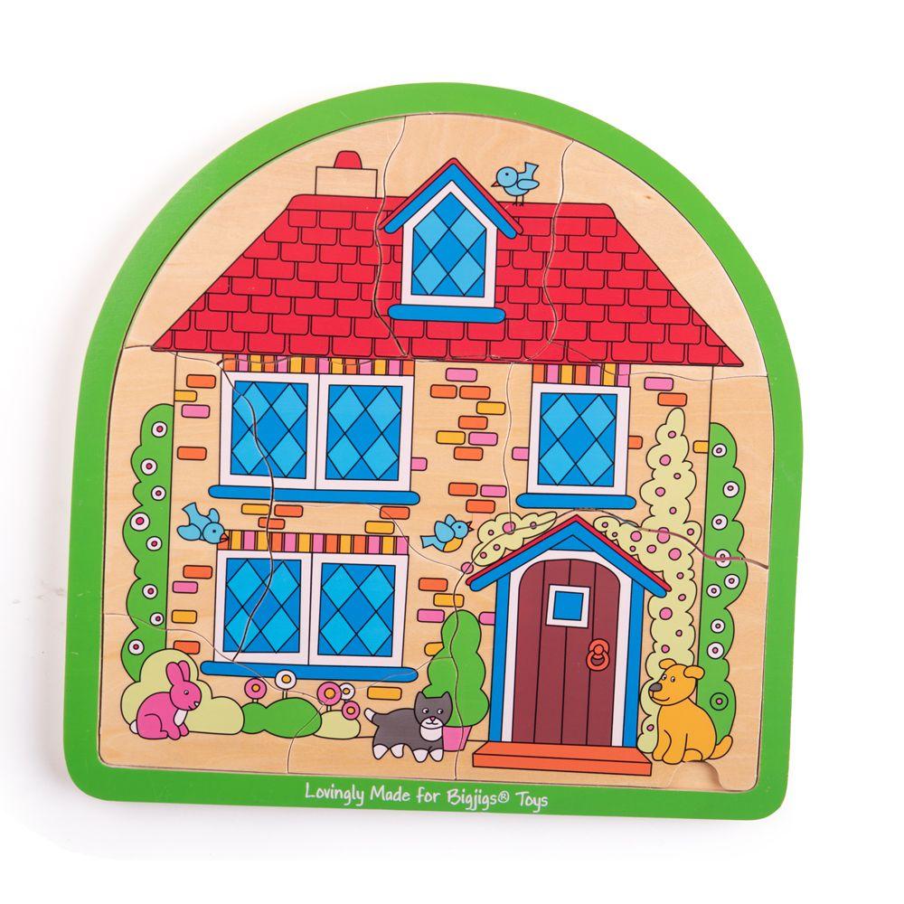 Bigjigs Toys Dřevěné vícevrstvé puzzle  Dům