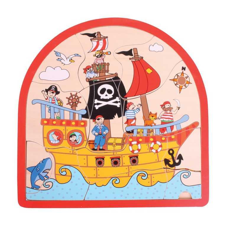 Bigjigs Toys Dřevěné vícevrstvé puzzle Pirátská loď