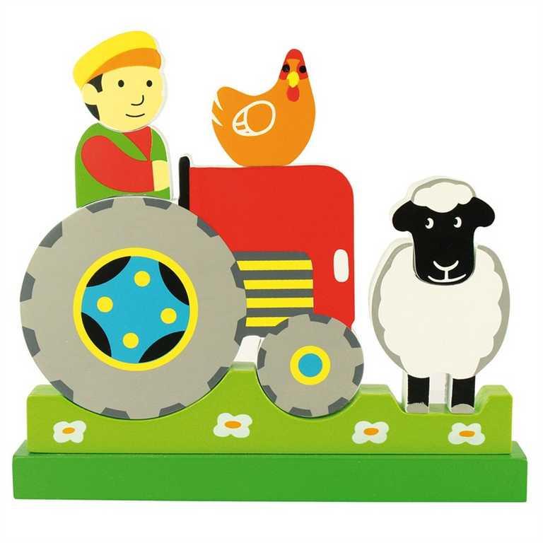 Bigjigs Toys Magnetické vertikální puzzle traktor