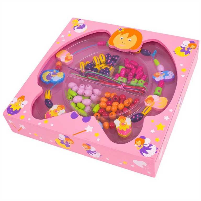 Bigjigs Toys dřevěné navlékací korále v krabičce - Víly