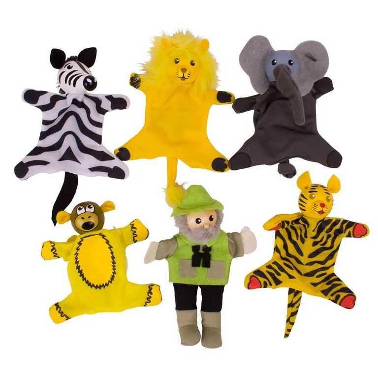 Bigjigs Toys Prstoví maňásci sada Safari