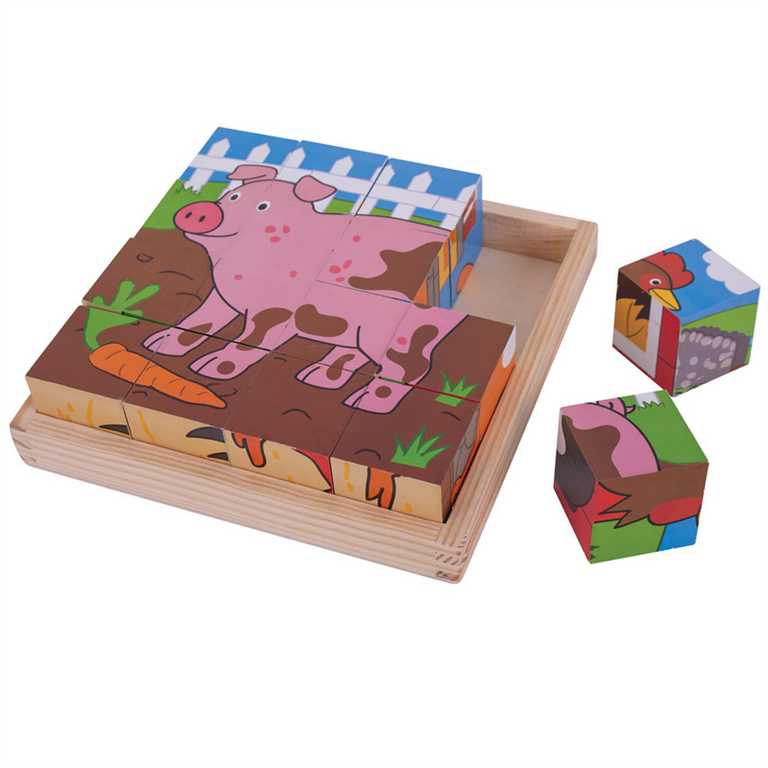 Bigjigs Toys Obrázkové kostky farma 9 kostek
