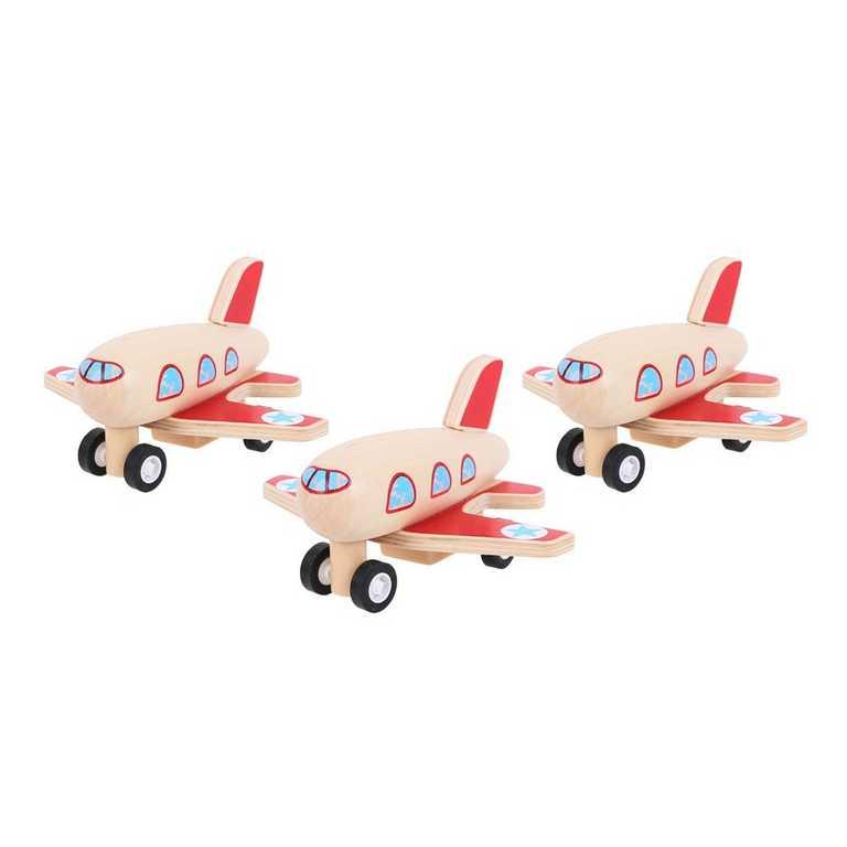 Bigjigs Toys dřevěné hračky - Dřevěné natahovací letadlo
