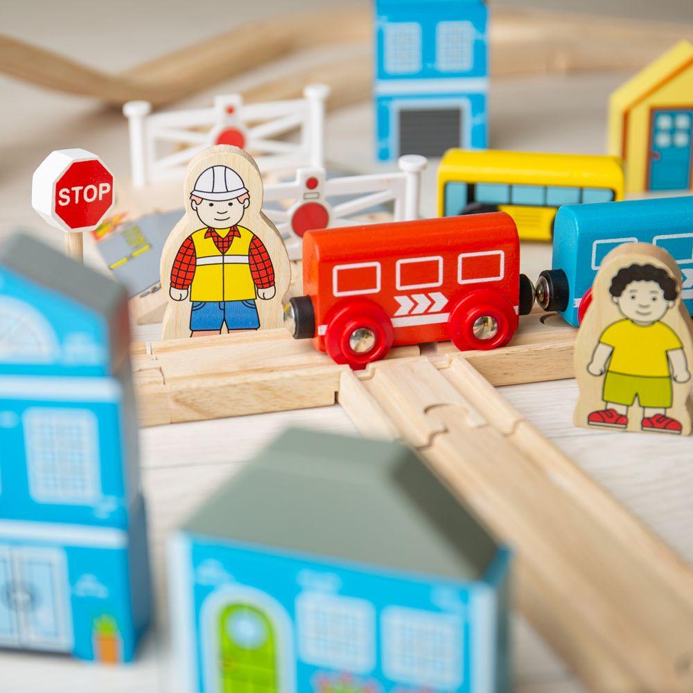 Bigjigs Rail Dřevěná vláčkodráha město a vesnice 101 dílů
