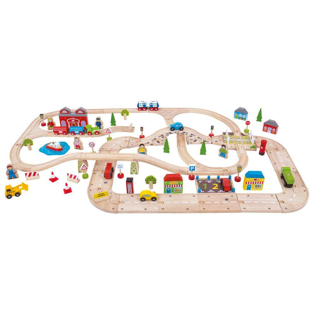Bigjigs Rail Vláčkodráha a autodráha