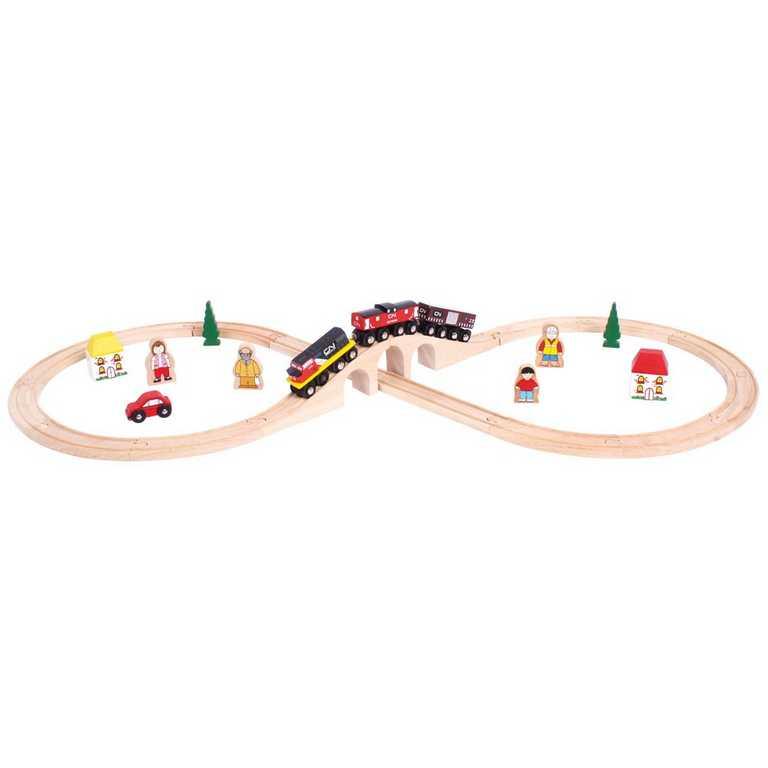 Bigjigs Rail Dřevěná vláčkodráha osmička s CN vlakem