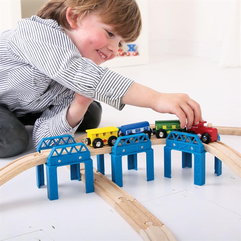 Dřevěné vláčkodráhy Bigjigs - Set mostní konstrukce
