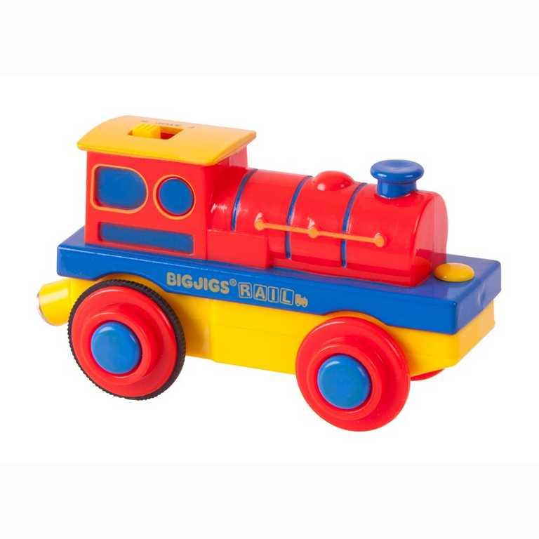 Bigjigs elektrická lokomotiva Mašinka vláčkodráhy na baterky