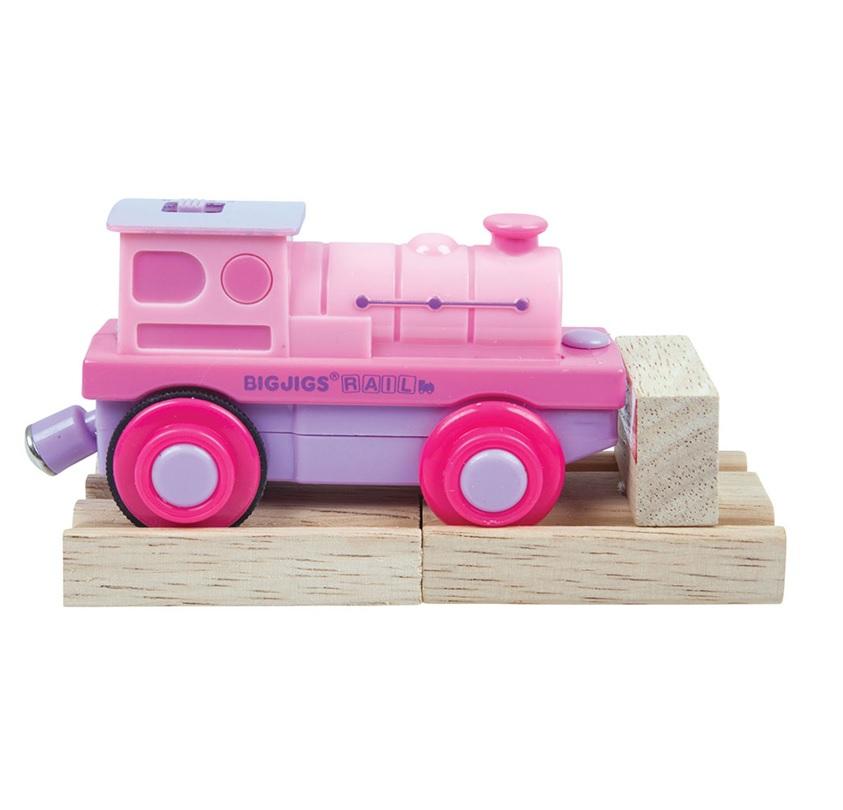Bigjigs Rail Elektrická lokomotiva Mašinka růžová