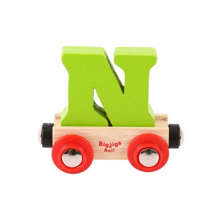 Bigjigs Rail vagónek dřevěné vláčkodráhy - Písmeno N