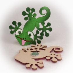 Dřevěné magnetky - Chameleon