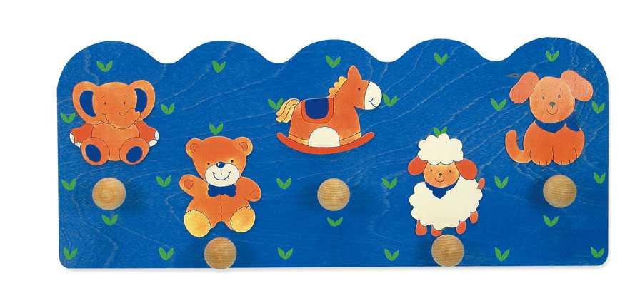 Dřevěné hračky - Věšák zvířátka - 5 háčků