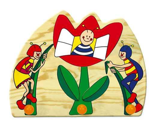 Dřevěné hračky - Věšák - berušky - 3 háčky