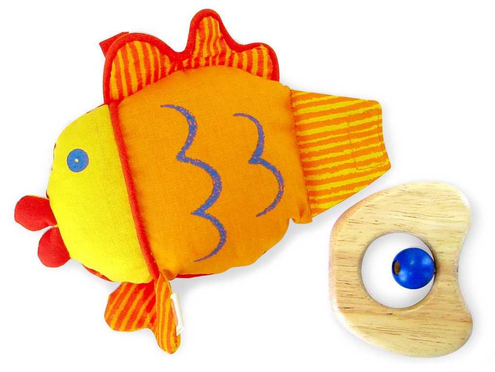Dřevěné a textilní hračky - baby - rybka oranžová