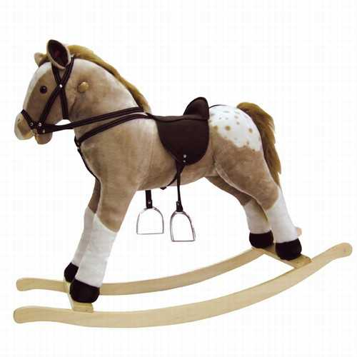 Bino Dřevěný houpací kůň plyšový Max