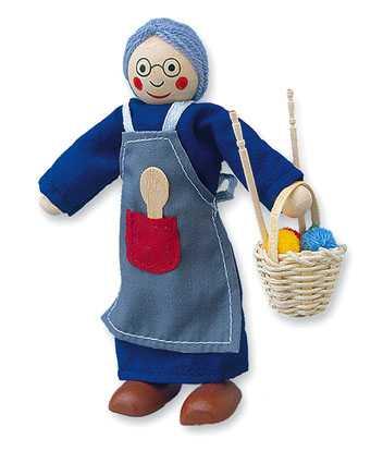 Dřevěné hračky - Panenka do domečku babička