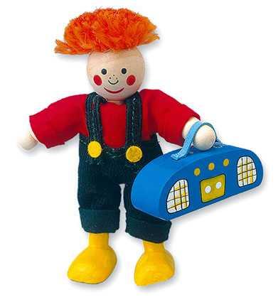 Dřevěné hračky - Panenka do domečku, Max s rádiem