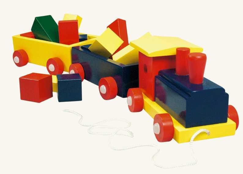 Dřevěné hračky - Vlak velký, barevný - 2 vagony