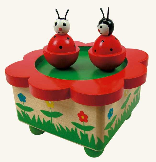 Dřevěné hračky -  Hrací skříňka - berušky