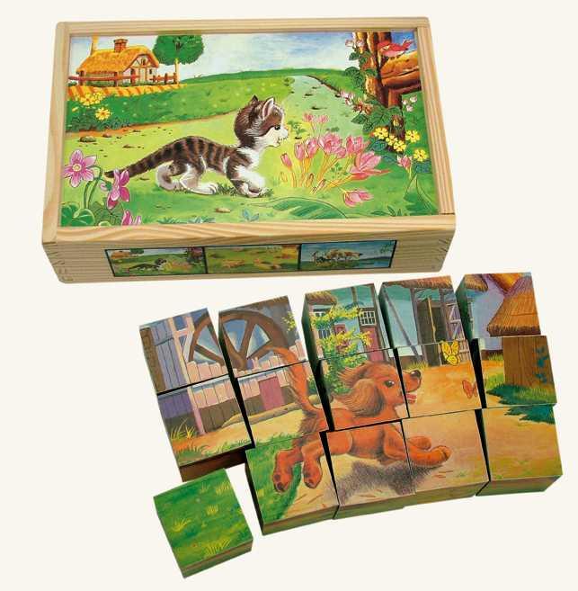 Bino Dřevěné obrázkové kostky domácí zvířátka 15 ks