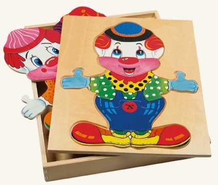 Dřevěné hračky - Šatní skříň velká - klaun