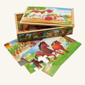 Dřevěné hračky -  Puzzle v krabičce - zvířátka