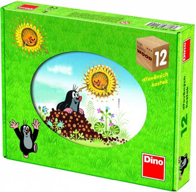 Dino Dřevěné obrázkové kostky Krtkův rok 12ks