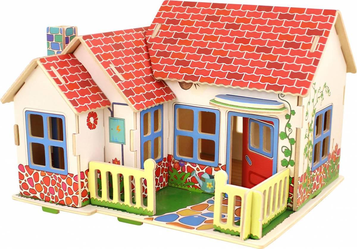 Dřevěné skládačky 3D puzzle - Grace domeček pro panenky
