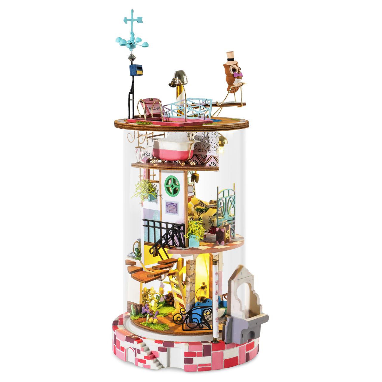 RoboTime miniatura domečku Skleněný domek malé čarodějky
