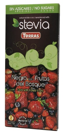 Torras Hořká čokoláda Stévia s lesním ovocem 125g