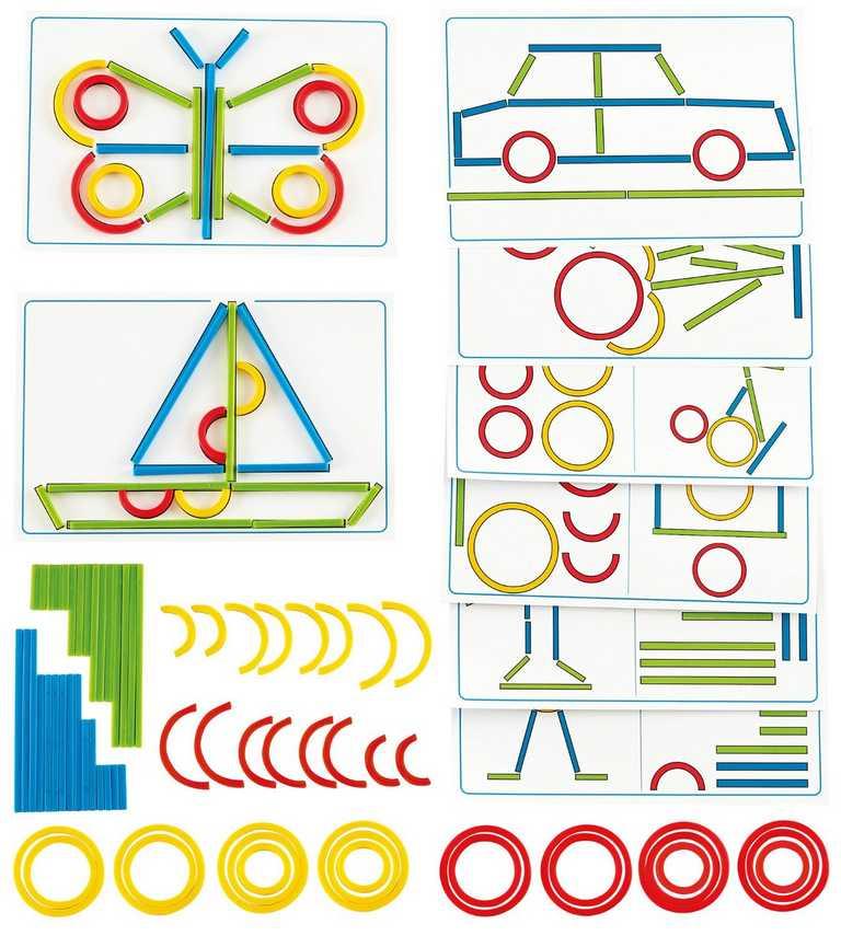 HAPE dřevěná kreativní hra - Kroužky a tyčinky