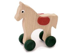 Dřevěné hračka na kolečkách Koník