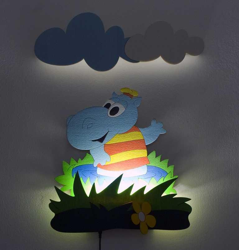 DoDo Dětská LED lampička hrošík