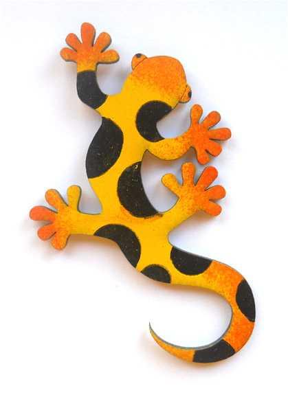 Dřevěné dekorace - dřevěné magnetky - Ještěrka žlutá
