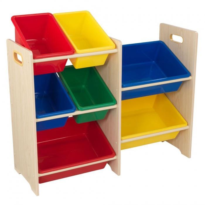 Dřevěný Regál s barevnými boxy