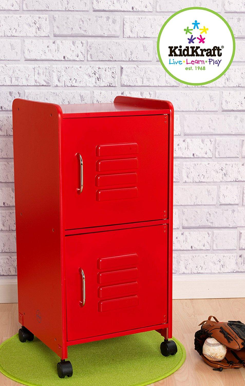 KidKraft Dřevěná skříňka červená s 2 policemi