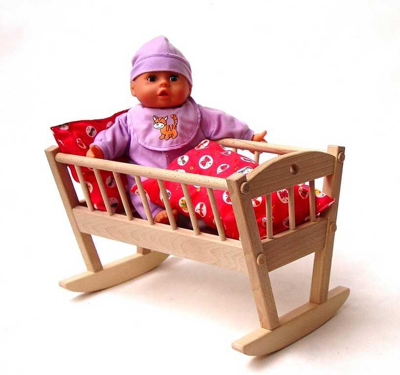 Dřevěné hračky pro holky - Kolébka pro panenky přírodní