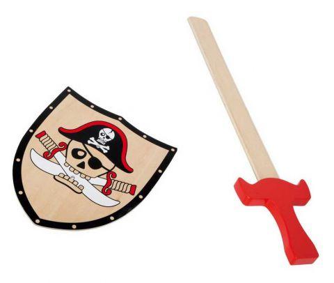 Dřevěné hračky - Pirátský štít a meč Barbarosa