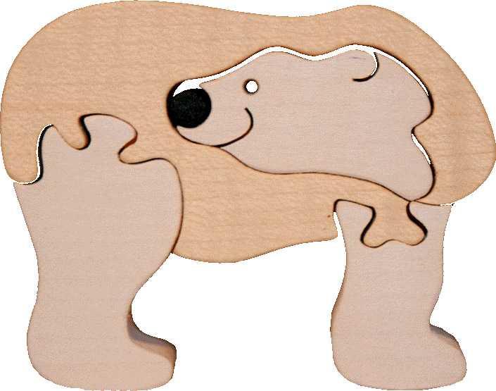 Fauna Dřevěné vkládací puzzle z masivu lední medvěd