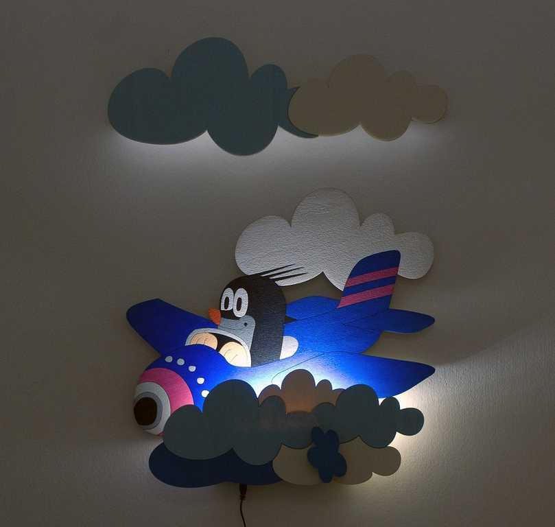 DoDo Dětská LED lampička krtek v letadle