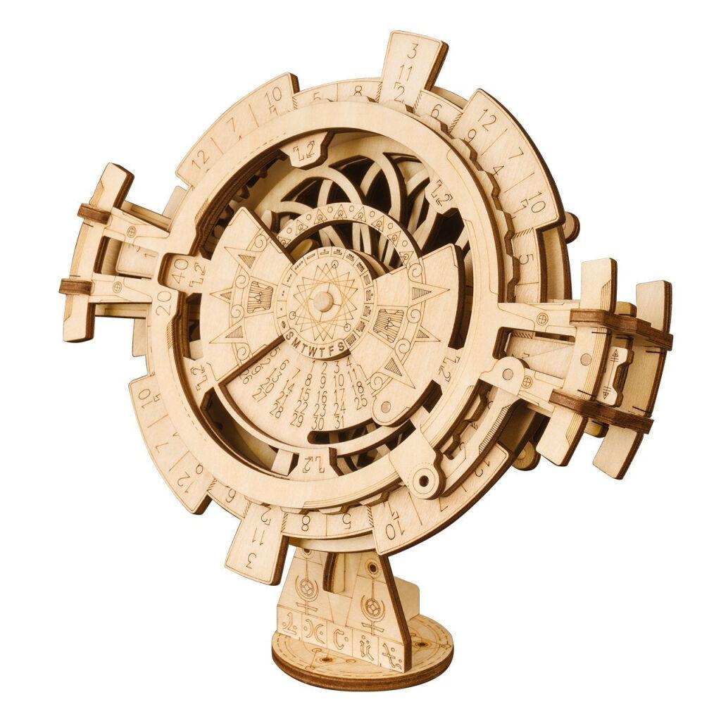 RoboTime 3D dřevěné mechanické puzzle Stolní kalendář