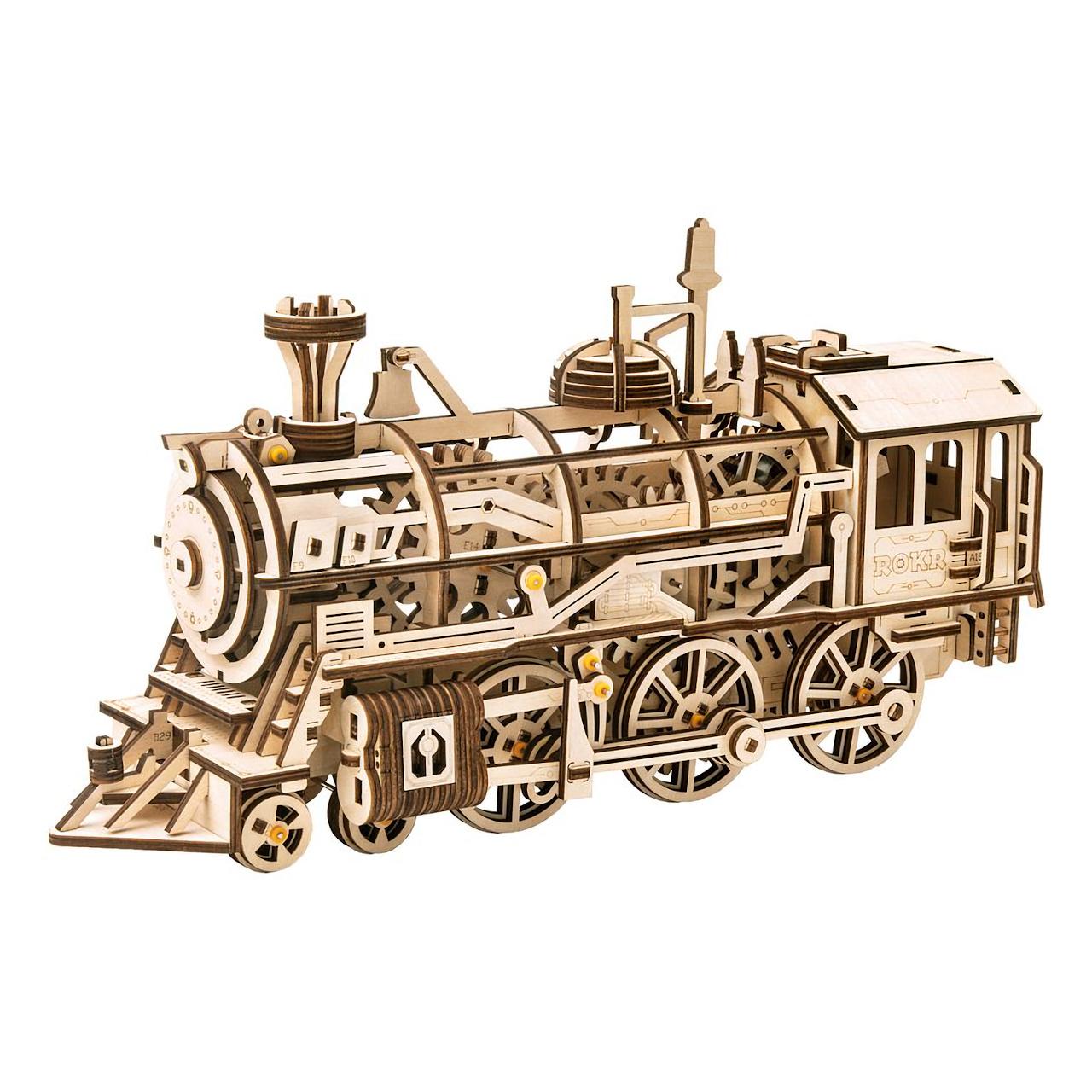 RoboTime 3D dřevěné mechanické puzzle Parní lokomotiva