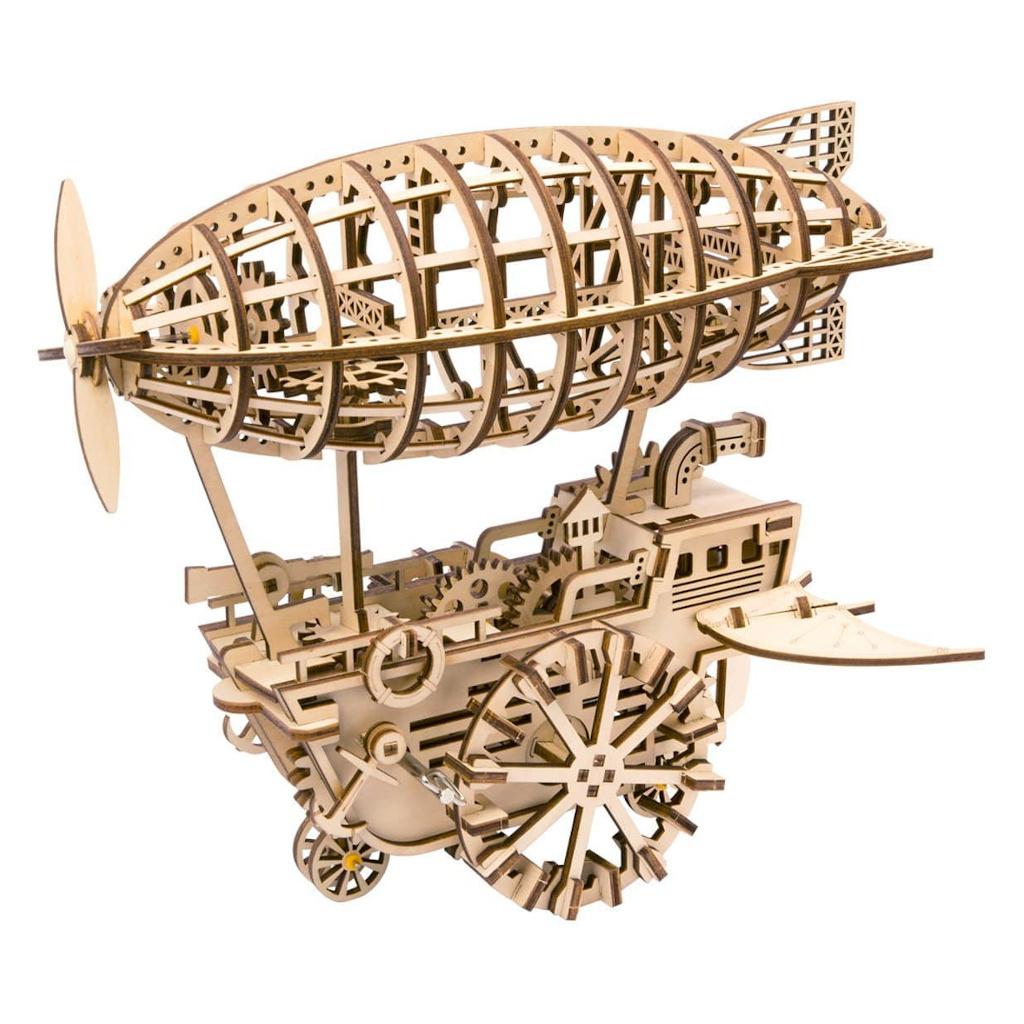 RoboTime 3D dřevěné mechanické puzzle Fantastická vzducholoď