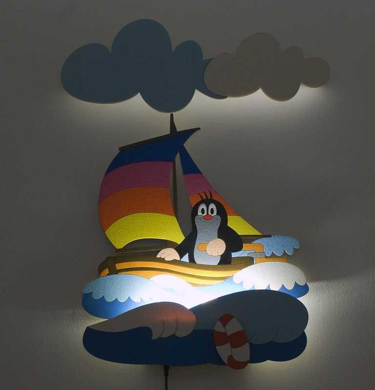 DoDo Dětská LED lampička krtek na lodi